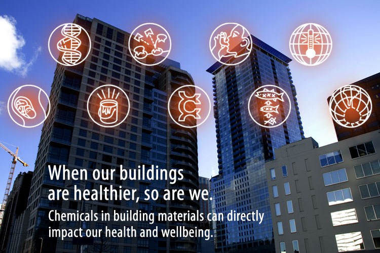 Buildings with orange endpoint icons