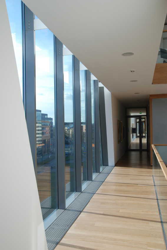 Office building hallway with windows
